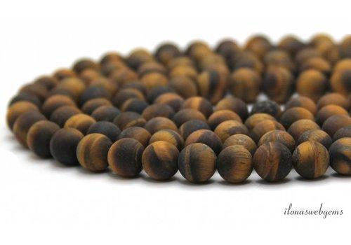 Tigerauge Perlen rund Matte 4mm