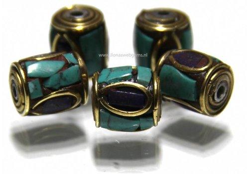 3 stuks Tibetaanse messing kraal met Lapis lazuli en Turkoois