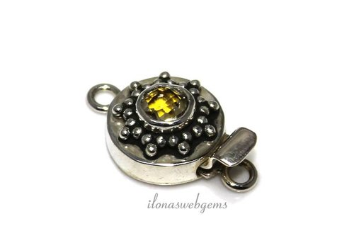Sterling silver box lock with citrine around 15x8mm