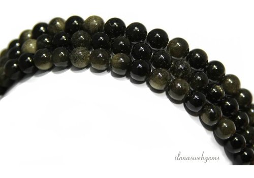 Goldene Obsidian Perlen um 8mm