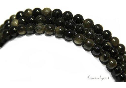 Regenboog Obsidiaan kralen rond ca. 8mm