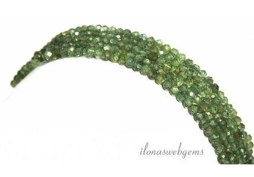Green Apatite beads Diamond cut approx. 3mm