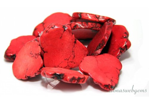 Howlite beads red paste approx. 35x23x6mm