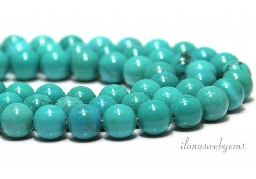 Howliet kralen wit turquoise rond ca. 10mm
