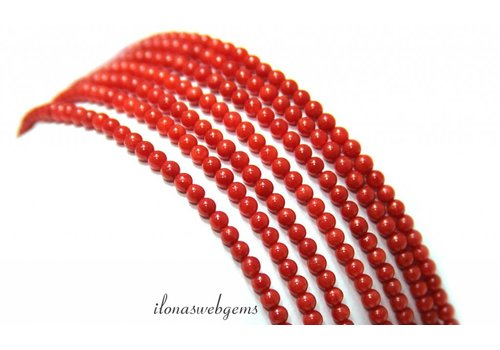Red coral beads '' Corallium Rubrum '' approx. 3mm