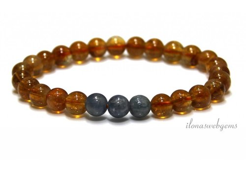 Citrine with Sapphire beads (bracelet) A quality approx. 7mm