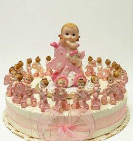 Doop bedankjes met baby's op roze wagentje