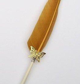 Receptie pen met gouden zwanen veer
