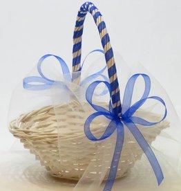 Witte rieten strooimandje - blauw