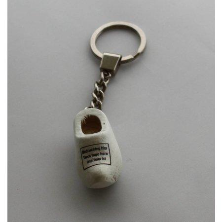 Klomp sleutelhangers Wit met logo of tekst