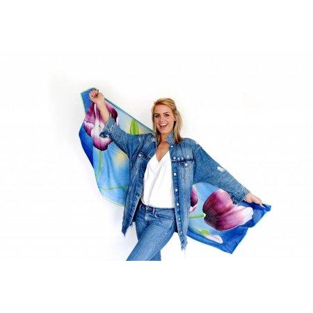 tulips Scarf blue