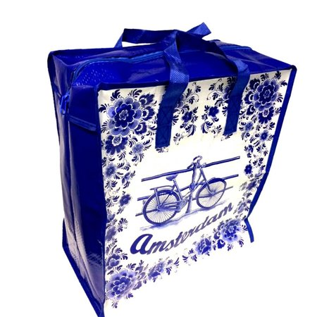 Shopper tas Delftsblauw met fiets