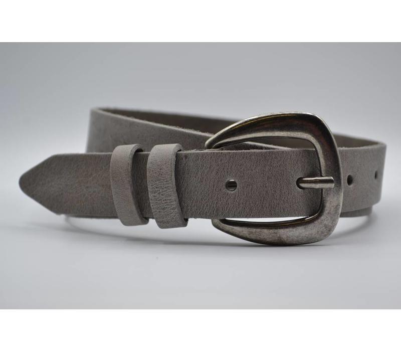 30mm italiaans volnerf lederen damesriem met een casual oud zilveren gesp