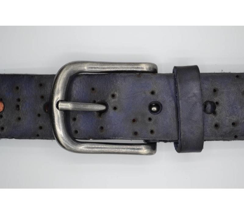 40mm brede riem van italiaans leder. gelaserde fantasie print