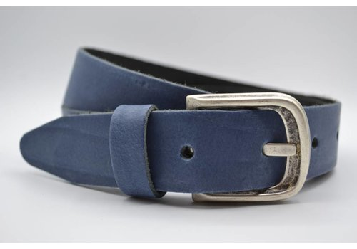 Scotts Bluf split lederen 35 mm blauwe casual riem