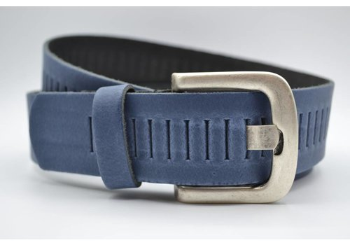 Scotts Bluf split lederen 40mm blauwe casual perforatie riem