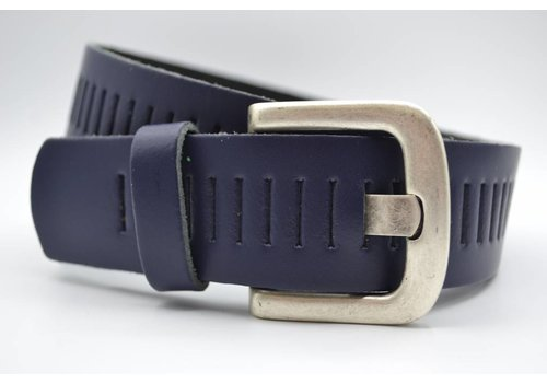 Scotts Bluf split lederen 40mm donker blauwe casual perforatie riem