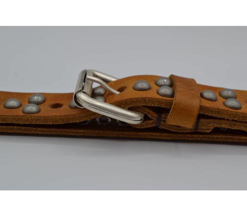20mm italiaans volnerf lederen damesriem volledig gevuld met oud zilveren bolstuds