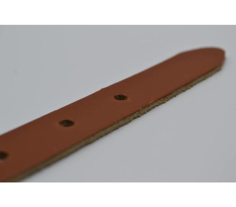 20mm Nederlands gelooide split lederen damesriem uitgevoerd met bronze nette gesp