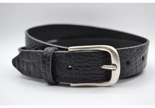 Scotts Bluf 3cm zwarte italiaans volnerf lederen casual riem