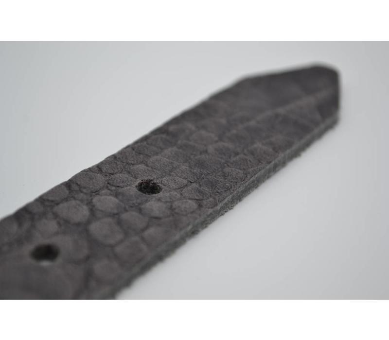 30mm Italiaans volnerf lederen riem met kroko print en fijne gunmetal gesp