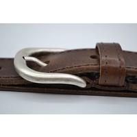 35mm brede riem van italiaans leder met een nette nikkelvrije oud-zilveren
