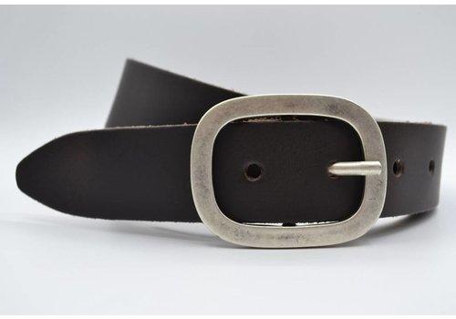 Scotts Bluf 4cm donker bruine split lederen riem.