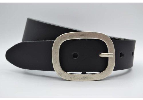 Scotts Bluf 4cm zwarte split lederen riem.