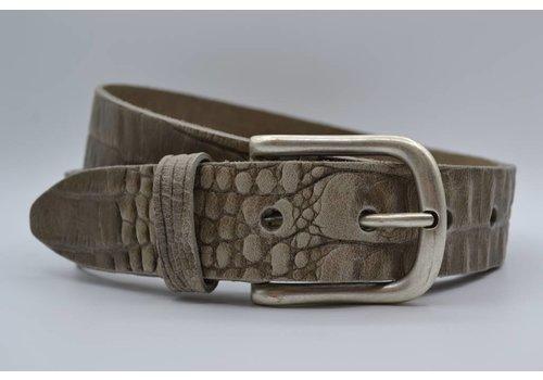 Scotts Bluf 4cm croco taupe italiaans volnerf lederen casual riem