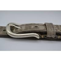 4cm Italiaans volnerf lederen riem met croco print en fijne afgeronde oud zilveren gesp