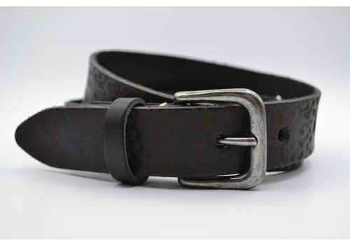 Scotts Bluf 3cm zwarte kinder riem met vlekprint