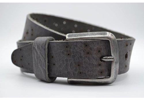 Scotts Bluf 35mm grijze kinder riem met gebrande gaatjes