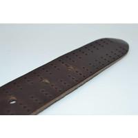 40mm brede riem van italiaans gewassen leder met strakke oud zilveren gesp