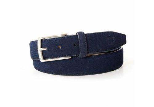 Tresanti blauwe 35mm brede suede lederen riem
