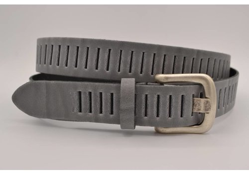 Scotts Bluf split lederen 30mm grijze casual perforatie riem