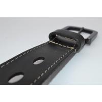 40mm brede riem van italiaans gewassen leder met strakke zwarte gesp -