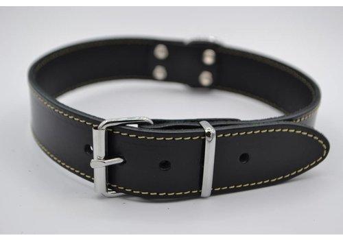 Scotts Bluf Hondenhalsband 60cm zwart echt Italiaans leer