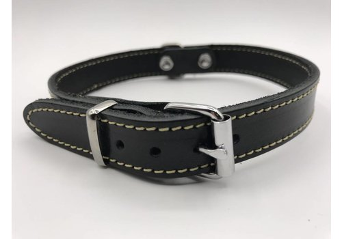 Scotts Bluf Hondenhalsband 45cm zwart echt Italiaans leer