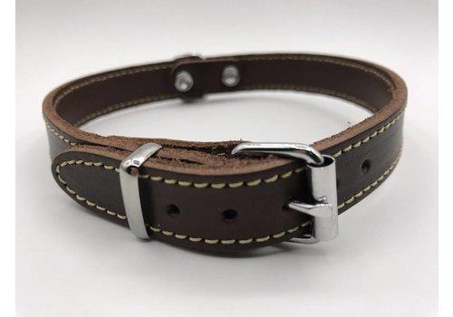 Scotts Bluf Hondenhalsband 35cm bruin echt Italiaans leer