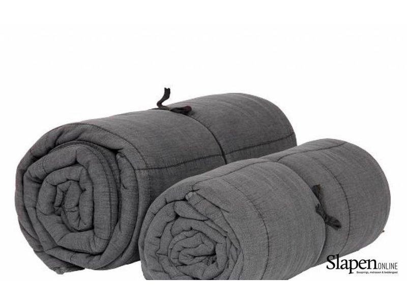 MrsBloom Quilted cotton throw charlotte dark grey