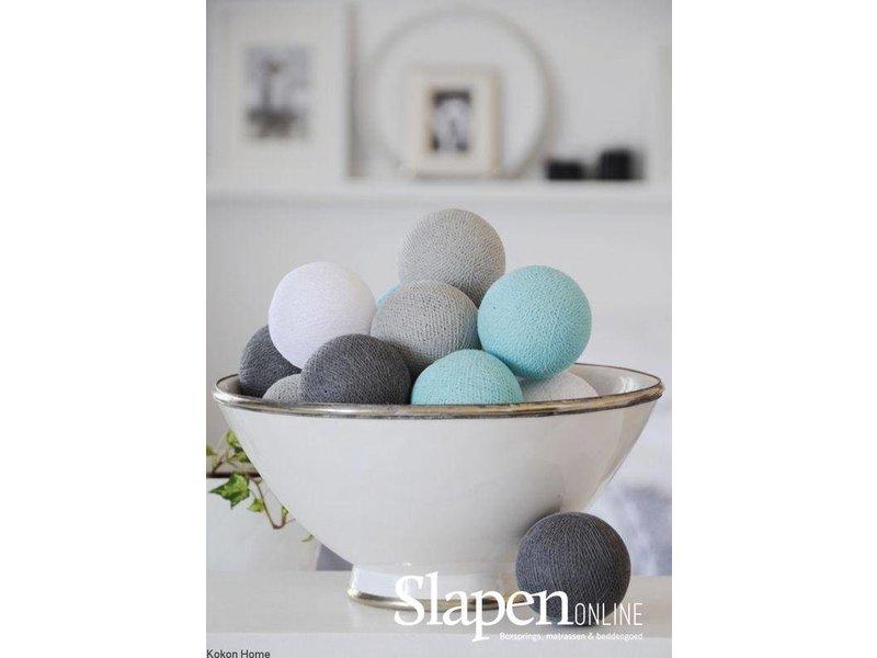 Cotton ball lights turquoise/grijs 20L
