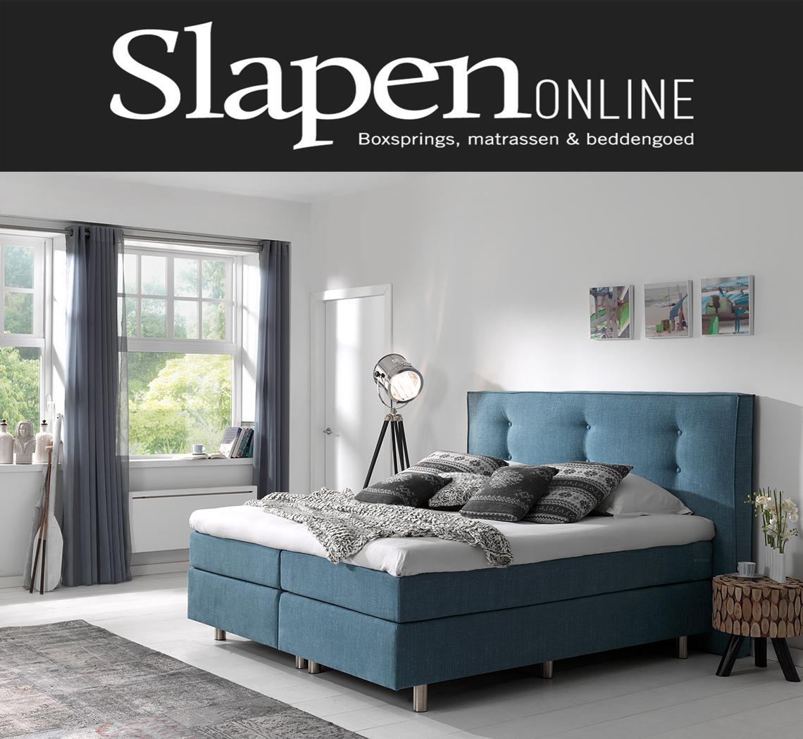 Blauwe boxspring bij Slapen Online