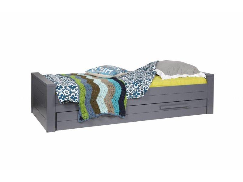 Woood Dennis bed 90x200 cm grenen steel grey geborsteld