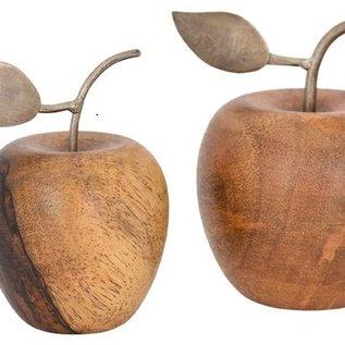 Deko Apfel Aus Holz Gedrechselt Stil Und Blatt Aus Metall
