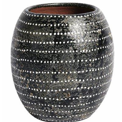 Vase Ocean schwarz, weiße Punkte