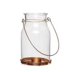 Hängeglas Teelichthalter mit Kupferboden