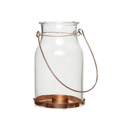 Hübsch Interior Hängeglas Teelichthalter mit Kupferboden