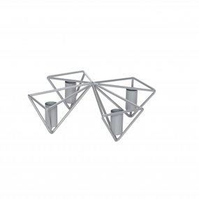 Kerzenständer 4-armig Metall grau