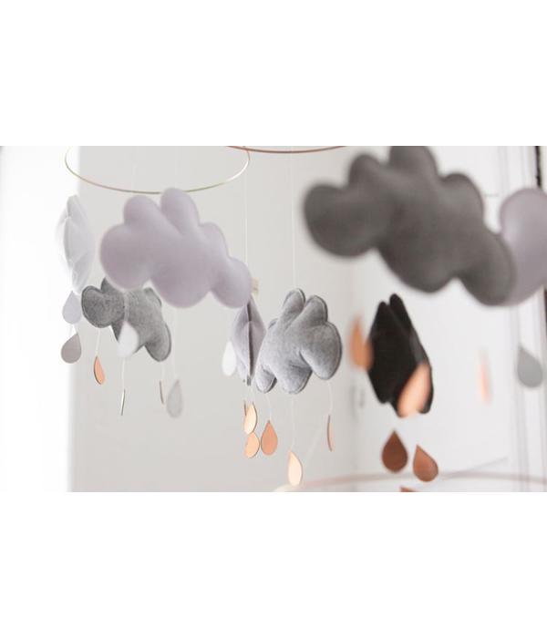 Konges Slojd KONGES SLOJD - Wolk mobiel Saturnus roze/grijs/wit