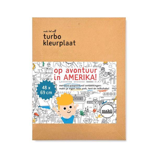 Makii - Turbo kleurplaat 'Amerika' (48 x 69 cm)